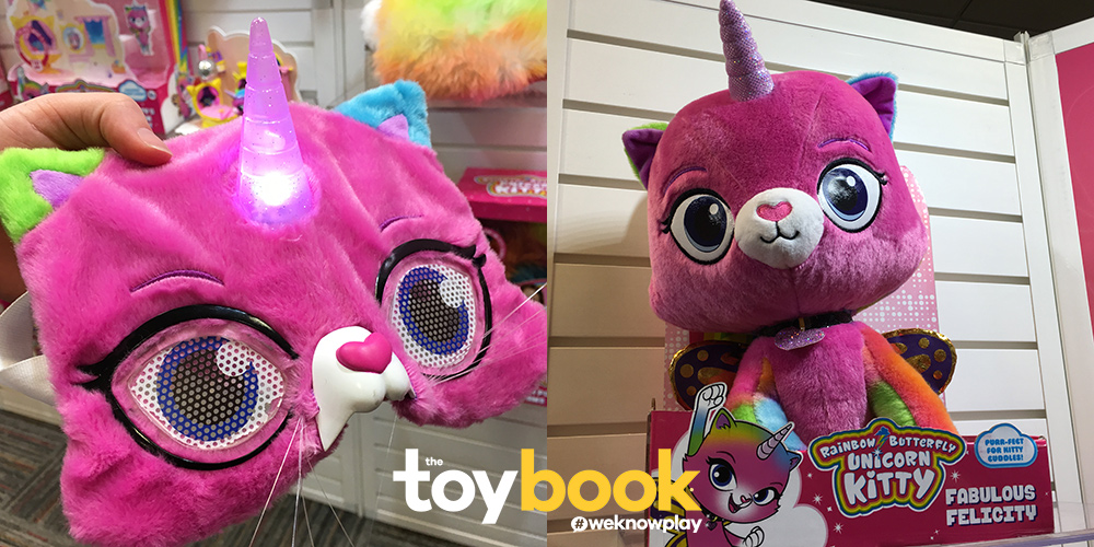 Rainbow Butterfly Unicorn Kitty Mask and Feature Plush